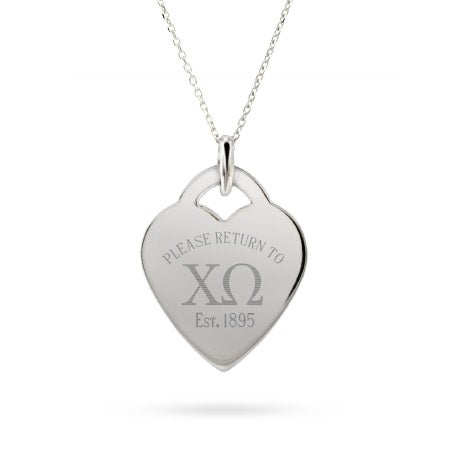 Return to Chi Omega Silver Heart Charm Necklace