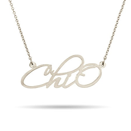 Chi Omega Sterling Silver Fancy ChiO Necklace