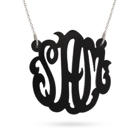 Black Acrylic Monogram Necklace | Eve's Addiction®
