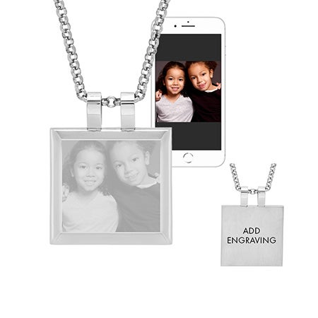 Stainless Steel Cushion Tag Photo Pendant | Eve's Addiction®