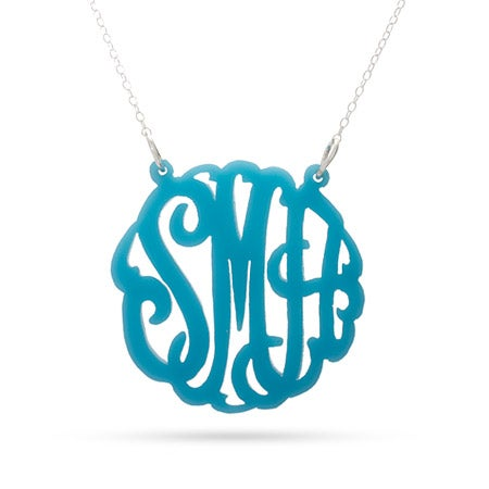 Turquoise Acrylic Monogram Necklace | Eve's Addiction®