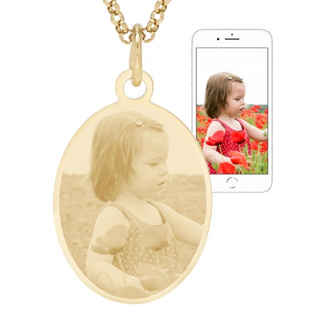 Gold Plated Oval Charm Photo Necklace