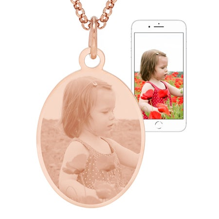 Rose Gold Plated Oval Tag Photo Pendant