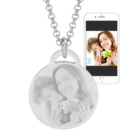 Stainless Steel Round Tag Photo Pendant | Eve's Addiction®