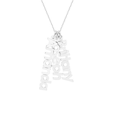 Dangling Family Nameplate Sterling Silver Necklace