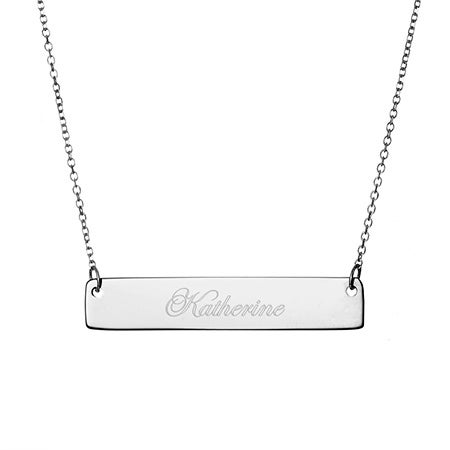 Engravable Sterling Silver Name Bar Necklace | Eve's Addiction