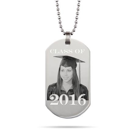 Graduation Photo Dog Tag Necklace
