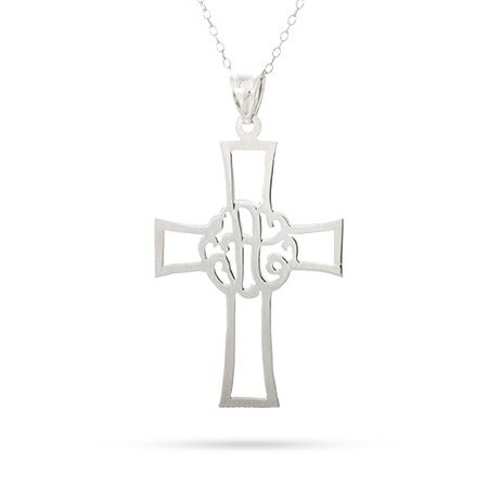 Monogram Single Initial Cross Pendant