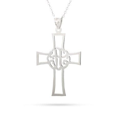 Monogram Single Initial Cross Pendant