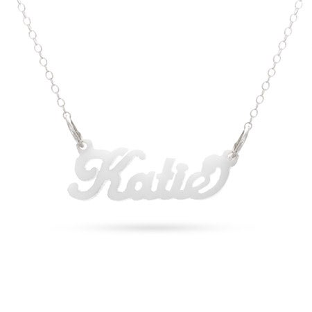 Script Style White Acrylic Name Necklace