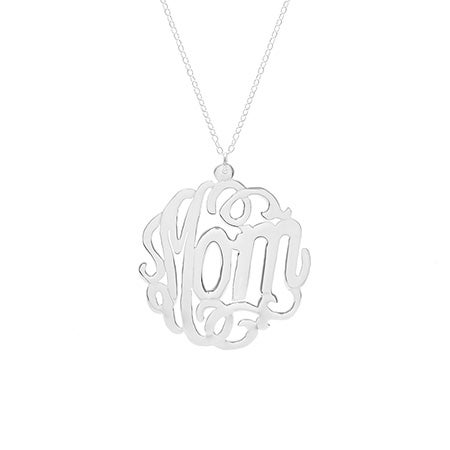 Sterling Silver Script Mom Monogram Necklace
