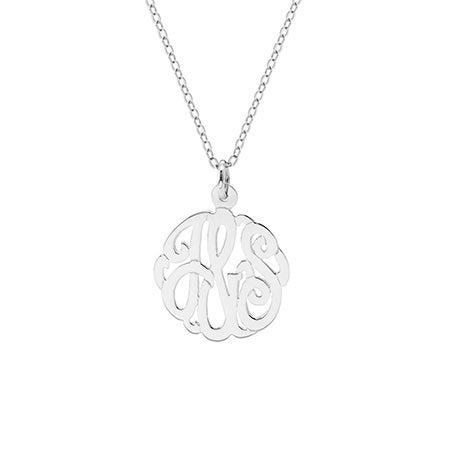 Petite Couples Monogram Style Silver Pendant
