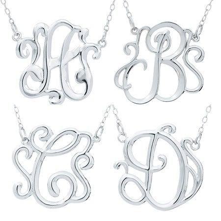 Sterling Silver Monogram Style Initial Pendant | Eve's Addiction®