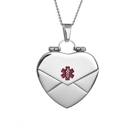 Medical ID Engravable Secret Heart Message Locket