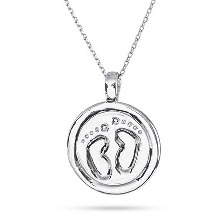 Engravable Baby Foot Print Charm Necklace