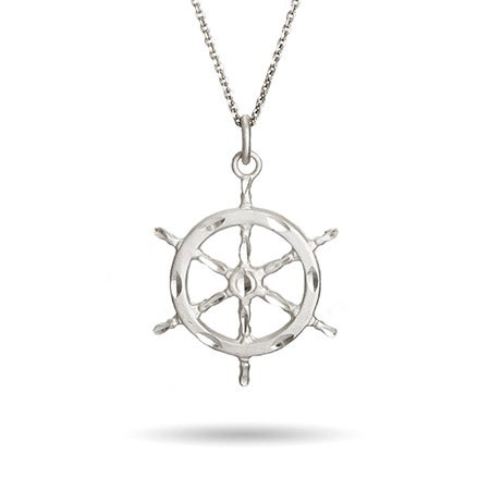 Nautical Ships Wheel Silver Necklace