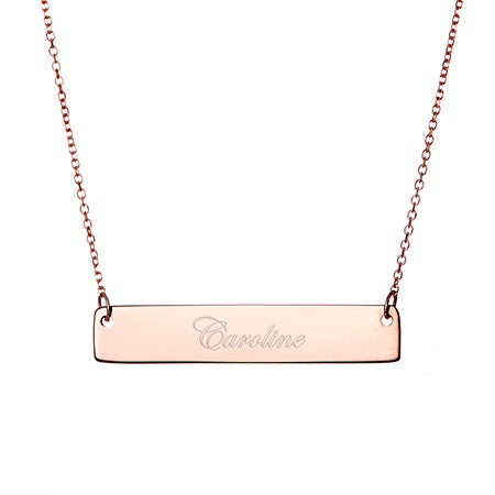 Engravable Rose Gold Name Bar Necklace | Eve's Addiction