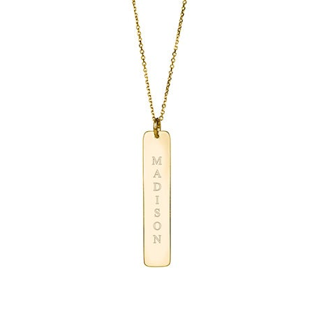 Vertical Name Bar Pendant in Gold Vermeil | Eve's Addiction®