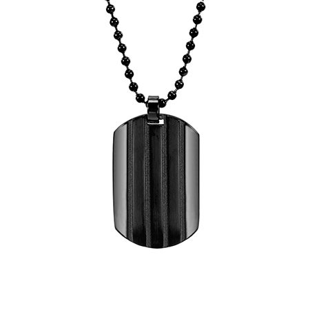 Engravable Black Ribbed Stainless Steel Dog Tag | Eve's Addiction®
