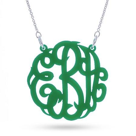 Green Acrylic Monogram Necklace | Eve's Addiction®