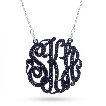 Black Glitter Acrylic Monogram Necklace | Eve's Addiction®