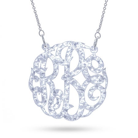 White Glitter Acrylic Monogram Necklace