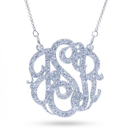 Silver Glitter Acrylic Monogram Necklace | Eve's Addiction®