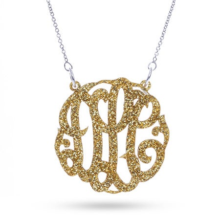 Gold Glitter Acrylic Monogram Necklace | Eve's Addiction®