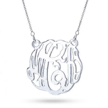 Silver Mirror Acrylic Monogram Necklace | Eve's Addiction®