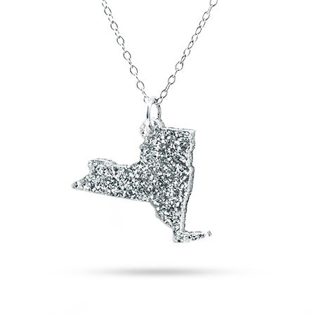 New York Silver Glitter Acrylic State Necklace