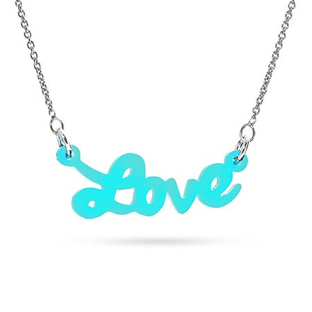 Acrylic Turquoise Love Necklace