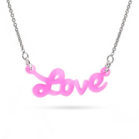 Pink Acrylic Love Necklace | Eve's Addiction