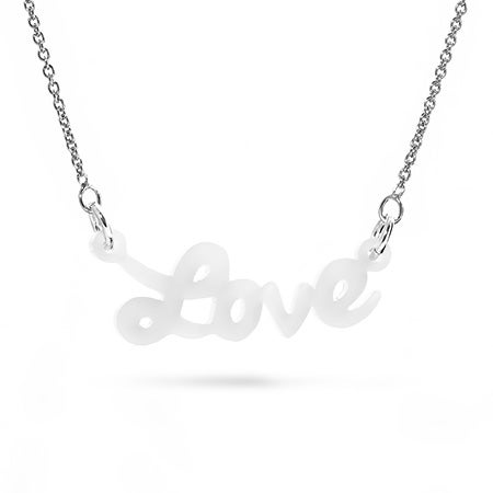 White Acrylic Love Necklace | Eve's Addiction
