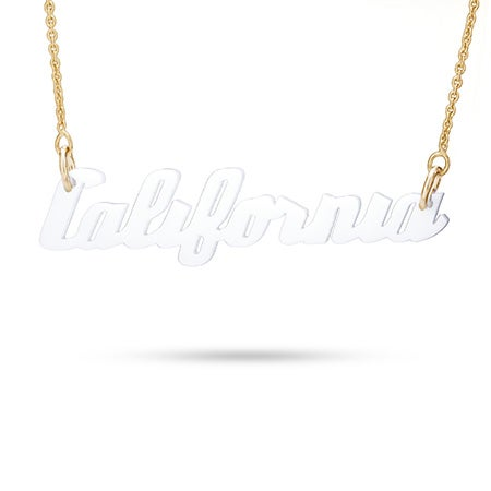 White Acrylic California Necklace with Gold Chain