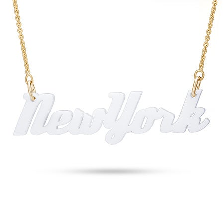 White Acrylic New York Necklace with Gold Chain
