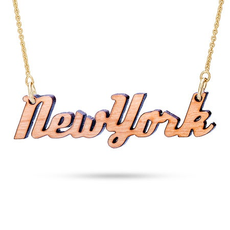 Cherry Wood New York Necklace with Gold Chain
