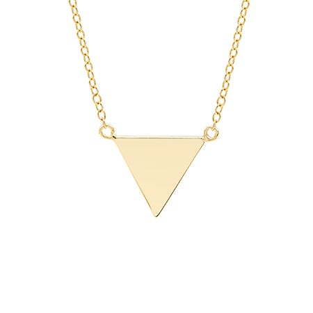 Engravable Gold Vermeil Triangle Pyramid Necklace