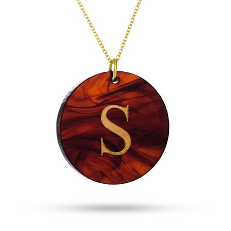 Acrylic Initial Round Tag Pendant