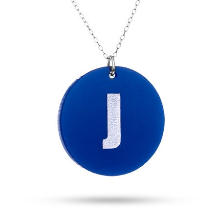 Acrylic Block Initial Round Tag Pendant