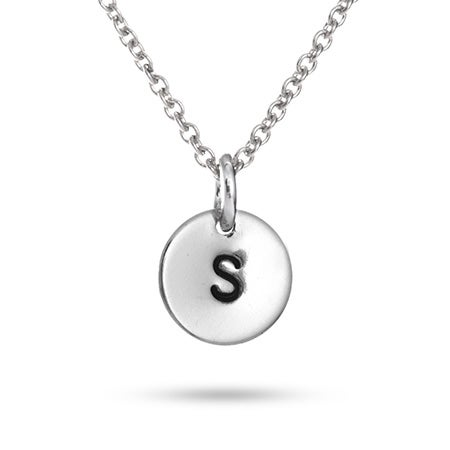 Sterling Silver Hand Stamped Initial Necklace