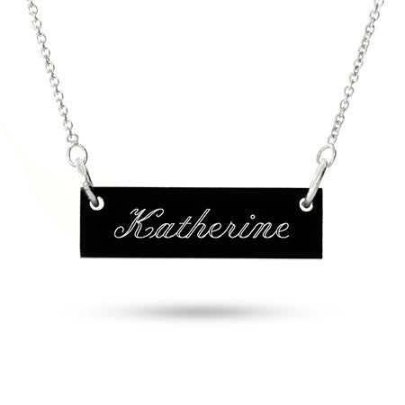 Acrylic Name Bar Sterling Silver Necklace