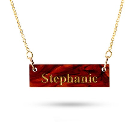 Acrylic Name Bar Gold Vermeil Necklace