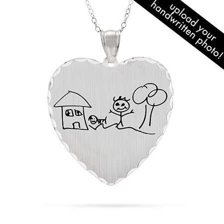 Personalized Handwritten Heart Charm Necklace