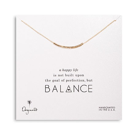 Dogeared Balance Smooth Bead Gold Dipped Necklace