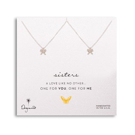 Dogeared Sisters One For You One For Me Silver Bow Necklace