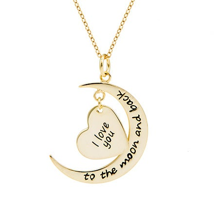 Engravable I Love You To The Moon and Back Gold Necklace