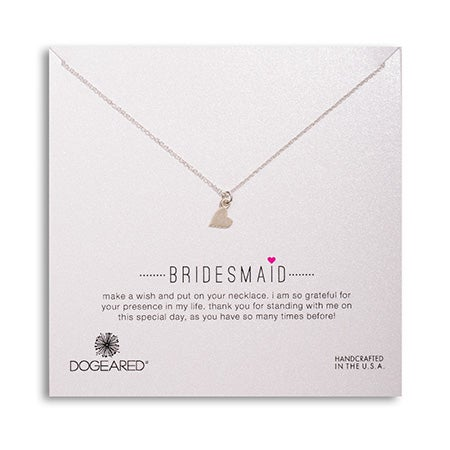 Dogeared Bridesmaid Sideways Heart Silver Necklace