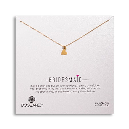 Dogeared Bridesmaid Sideways Heart Gold Dipped Necklace