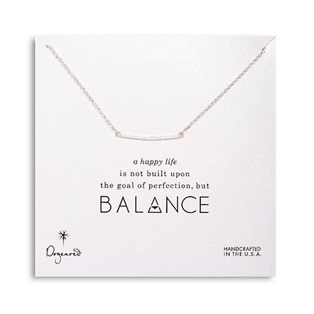 Dogeared Balance Square Bar Sterling Silver Necklace