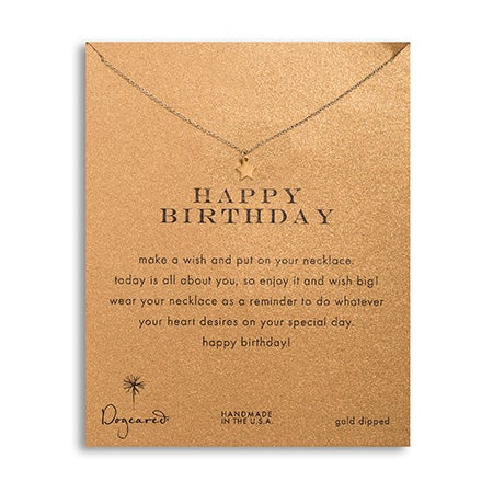 Dogeared Happy Birthday Star Gold Dipped Necklace